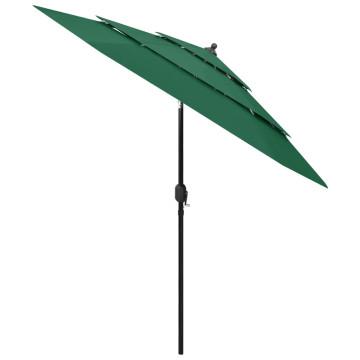 3 szintes zöld napernyő alumíniumrúddal 2,5 m - utánvéttel vagy ingyenes szállítással
