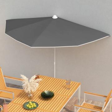 Antracitszürke félköríves napernyő rúddal 180 x 90 cm - utánvéttel vagy ingyenes szállítással