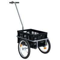 Fekete kerékpár pótkocsi összecsukható dobozzal 50 l 150 kg - utánvéttel vagy ingyenes szállítással