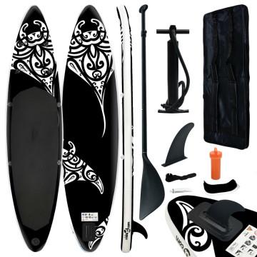 Fekete felfújható állószörfszett 320 x 76 x 15 cm - utánvéttel vagy ingyenes szállítással