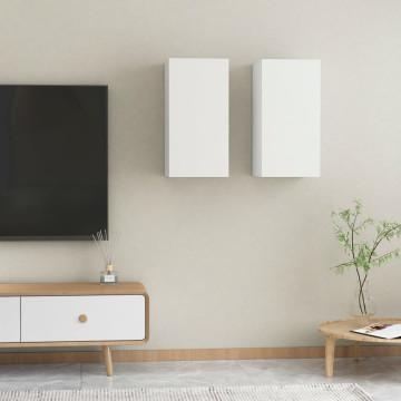2 db fehér forgácslap TV-szekrény 30,5 x 30 x 60 cm - utánvéttel vagy ingyenes szállítással