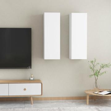 2 db fehér forgácslap TV-szekrény 30,5 x 30 x 90 cm - utánvéttel vagy ingyenes szállítással