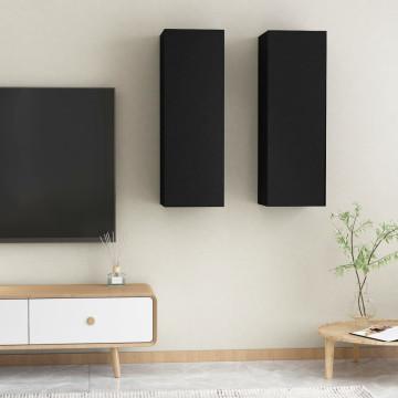 2 db fekete forgácslap TV-szekrény 30,5 x 30 x 90 cm - utánvéttel vagy ingyenes szállítással