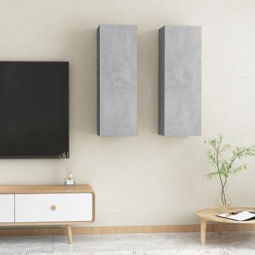 2 db betonszürke forgácslap TV-szekrény 30,5 x 30 x 90 cm - utánvéttel vagy ingyenes szállítással
