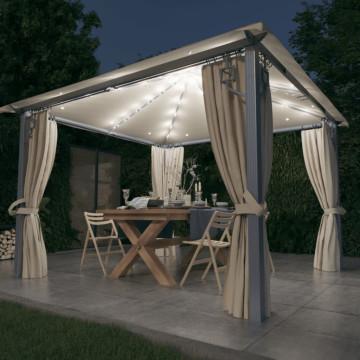 Krémszínű alumíniumpavilon függönnyel/fényfüzérrel 300 x 300 cm - utánvéttel vagy ingyenes szállítással
