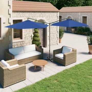 Azúrkék dupla napernyő acélrúddal 600 cm - utánvéttel vagy ingyenes szállítással