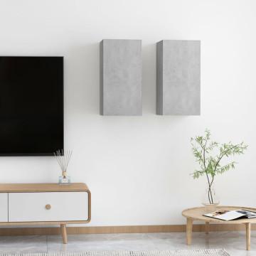 2 db betonszürke forgácslap TV-szekrény 30,5 x 30 x 60 cm - utánvéttel vagy ingyenes szállítással