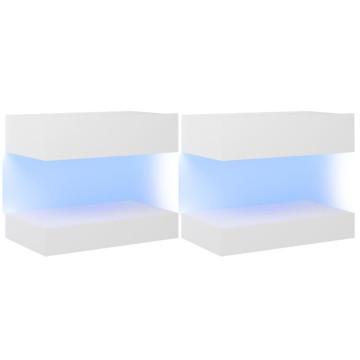2 db fehér TV-szekrény LED-lámpákkal 60 x 35 cm - utánvéttel vagy ingyenes szállítással