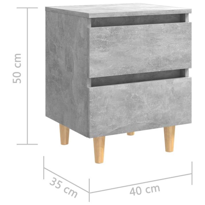 Betonszürke éjjeliszekrény tömör fenyőfa lábakkal 40x35x50 cm - utánvéttel vagy ingyenes szállítással