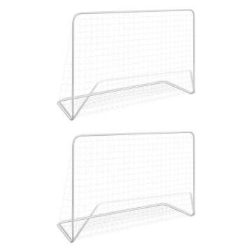 2 db fehér acél focikapu hálóval 182 x 61 x 122 cm - utánvéttel vagy ingyenes szállítással
