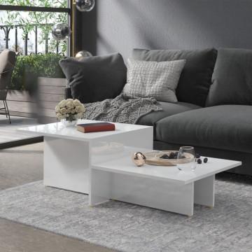 Magasfényű fehér forgácslap dohányzóasztal 111,5 x 50 x 33 cm - utánvéttel vagy ingyenes szállítással