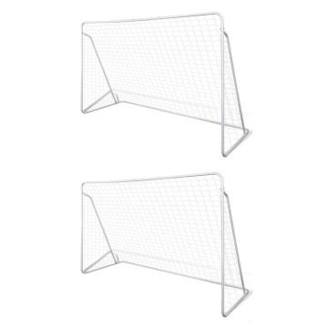 2 db acél focikapu hálóval 240 x 90 x 150 cm - utánvéttel vagy ingyenes szállítással