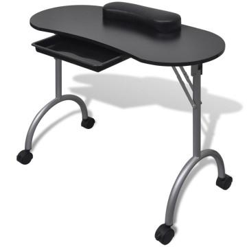 Összecsukható manikűr asztal kerekekkel fekete - utánvéttel vagy ingyenes szállítással