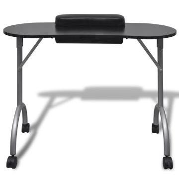 Összecsukható manikűr asztal kerekekkel fekete - ingyenes szállítás
