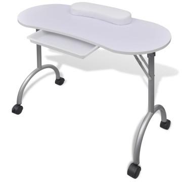 Összecsukható manikűr asztal kerekekkel fehér - ingyenes szállítás