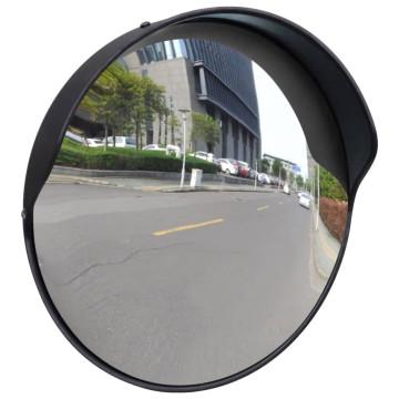 Konvex kültéri közlekedési tükör fekete polikarbonát 30 cm - ingyenes szállítás