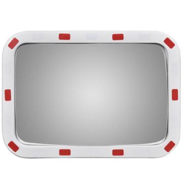 Konvex négyszögletes közlekedési tükör fényvisszaverőkkel 40 x 60 cm - ingyenes szállítás