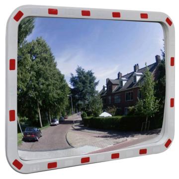 Konvex négyszögletes közlekedési tükör fényvisszaverőkkel 60 x 80 cm - ingyenes szállítás