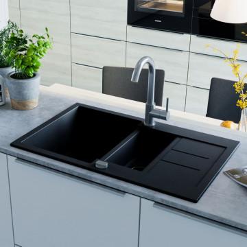 Fekete, kétmedencés gránit mosogatótálca - ingyenes szállítás