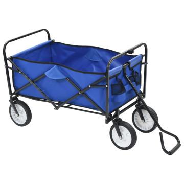 Kék acél összecsukható kézikocsi - utánvéttel vagy ingyenes szállítással