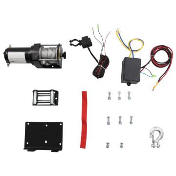 12 V-os elektromos csörlő 1360 kg szerelőlappal görgős léccel - ingyenes szállítás