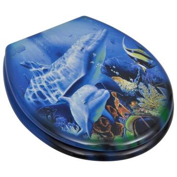 2 db delfin mintájú MDF WC ülőke gyorsan csukódó fedéllel - utánvéttel vagy ingyenes szállítással
