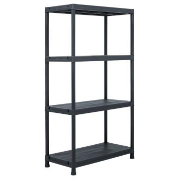 2 db fekete műanyag tároló polc állvány 60 x 30 x 138 cm - utánvéttel vagy ingyenes szállítással
