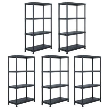 5 db fekete műanyag tároló polc állvány 60 x 30 x 138 cm - utánvéttel vagy ingyenes szállítással