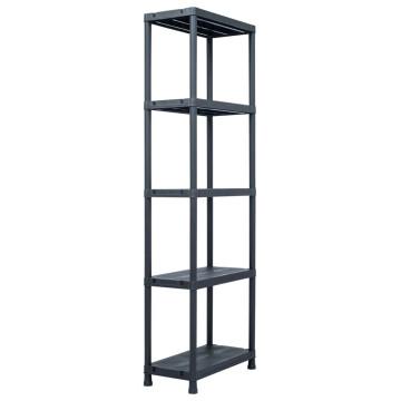 5 db fekete műanyag tároló polc 125 kg 60 x 30 x 180 cm - utánvéttel vagy ingyenes szállítással