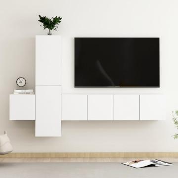 5 részes fehér forgácslap TV-szekrényszett - utánv...
