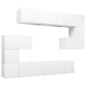 10 részes fehér forgácslap TV-szekrényszett - utánvéttel vagy ingyenes szállítással
