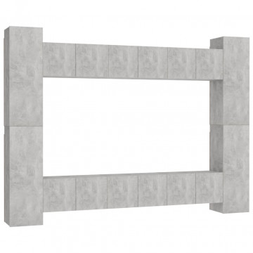 10 részes betonszürke forgácslap TV-szekrényszett - utánvéttel vagy ingyenes szállítással