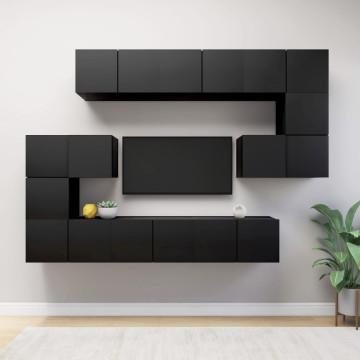 10 részes fekete forgácslap TV-szekrényszett - utánvéttel vagy ingyenes szállítással