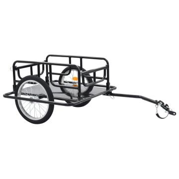 Fekete acél kerékpár-utánfutó 130 x 73 x 48,5 cm -...