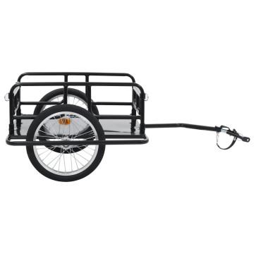Fekete acél kerékpár-utánfutó 130 x 73 x 48,5 cm - ingyenes szállítás