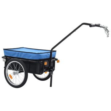 Kék acél kerékpár-utánfutó/kézikocsi 155 x 61 x 83 cm - utánvéttel vagy ingyenes szállítással