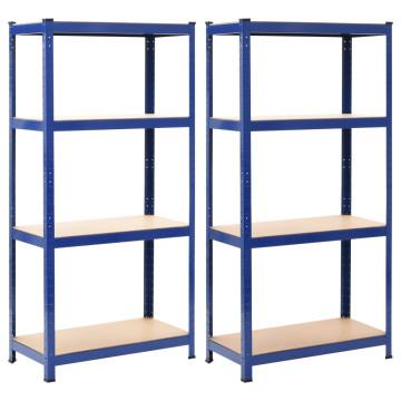 2 db kék acél és MDF tárolópolc 80 x 40 x 180 cm - utánvéttel vagy ingyenes szállítással