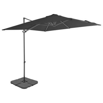 Antracitszürke kültéri napernyő hordozható talppal - utánvéttel vagy ingyenes szállítással