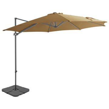 Szürkésbarna kültéri napernyő hordozható talppal - utánvéttel vagy ingyenes szállítással