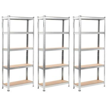 3 db ezüstszínű acél és MDF tárolópolc 75 x 30 x 172 cm - utánvéttel vagy ingyenes szállítással