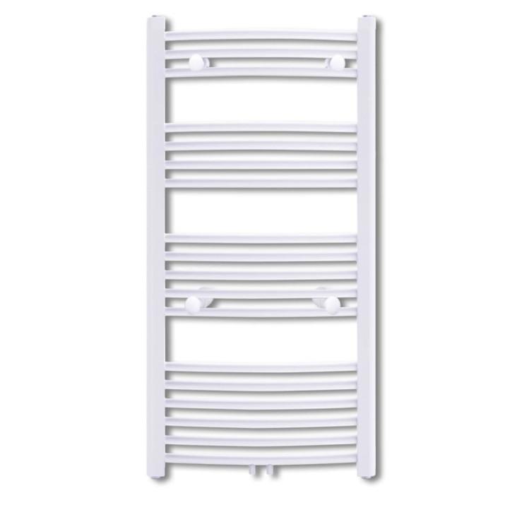 Fürdőszobai törölközőszárító radiátor központi fűtéssel oldalsó és középső csatlakozóval ívelt 600 x 1160 mm - ingyenes szállítás
