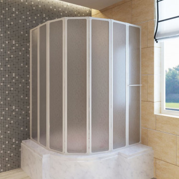 Zuhanyzó kádparaván 140 x 168 cm 7 panelek behajtható törülközőtartó - ingyenes szállítás