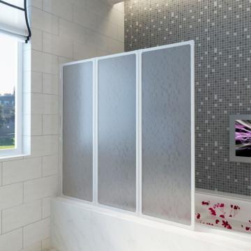 Zuhany kádparaván Fal 117 x 120 cm 3 panelek összecsukható - utánvéttel vagy ingyenes szállítással