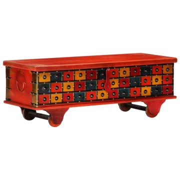 Piros tömör akácfa tárolóláda 110 x 40 x 40 cm - utánvéttel vagy ingyenes szállítással