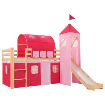 Fenyőfa gyermek galériaágy-keret csúszdával/létrával 97x208 cm - utánvéttel vagy ingyenes szállítással