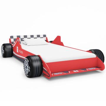 Piros versenyautó formájú gyerekágy 90 x 200 cm - ingyenes szállítás