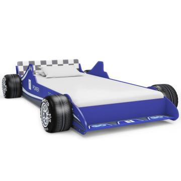 Kék versenyautó formájú gyerekágy 90 x 200 cm - utánvéttel vagy ingyenes szállítással