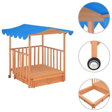Kék fa gyermekjátszóház homokozóval UV50 - ingyenes szállítás