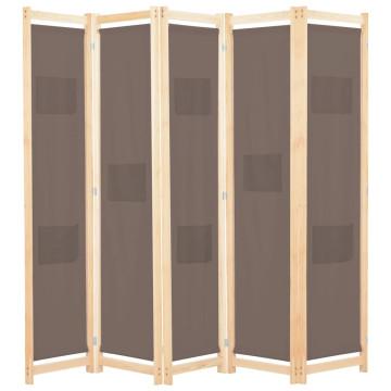 Barna 5-paneles szövetparaván 200 x 170 x 4 cm - utánvéttel vagy ingyenes szállítással