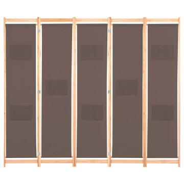 Barna 5-paneles szövetparaván 200 x 170 x 4 cm - ingyenes szállítás